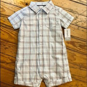 NWT Carter's collared plaid onesie 24 months